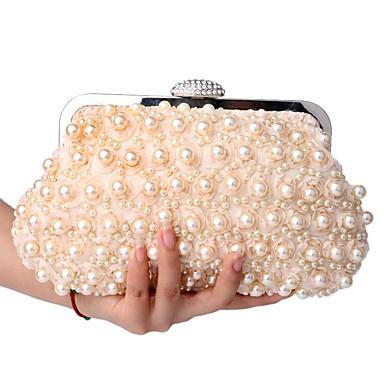 hesapli Çantalar-Kadın's İnci Detayları Clutch Düğün Çantaları Polyester Şampanya / Beyaz / Siyah