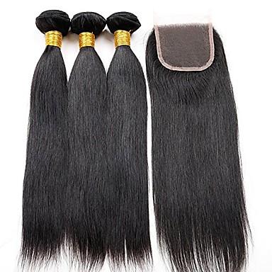 Włosy brazylijskie Włosy remy Prosto Ludzkie włosy wyplata 4szt Człowieka splotów włosów