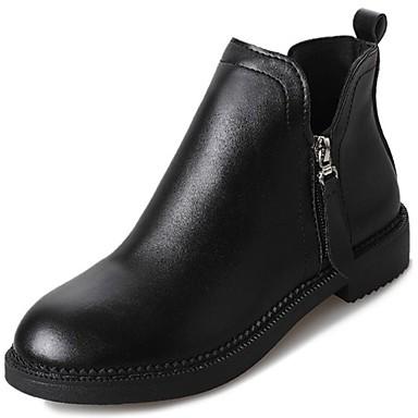 Damskie Obuwie PU Zima Modne obuwie Comfort Buciki Okrągły Toe Kozaczki / kozaki do kostki na Casual Na wolnym powietrzu Black