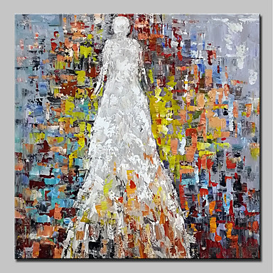 Ręcznie malowane Ludzie Kwadrat, Prosty Nowoczesny Brezentowy Hang-Malowane obraz olejny Dekoracja domowa Jeden panel