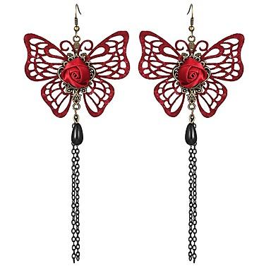 Damskie 2szt Kolczyki wiszące , Kutas Klasyczny Elegancki Słodkie Stop Motyl Biżuteria Czerwony Zaręczynowy Codzienny Biżuteria kostiumowa
