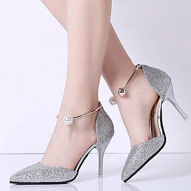 Mulheres Sapatos Couro Ecológico Verão Conforto Sandálias Caminhada Salto Agulha Dedo Apontado para Ao ar livre Dourado Preto Prata