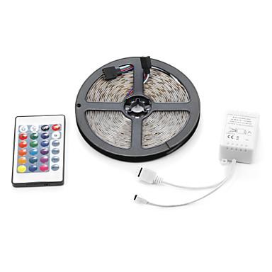 Lyssett LED RGB Fjernkontroll Kuttbar Mulighet for demping Vanntett Fargeskiftende Selvklebende Koblingsbar DC 12V DC 12 V