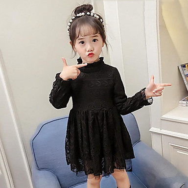 baratos Vestidos para Meninas-Menina de Vestido Para Noite Casual Sólido Inverno Outono Raiom Poliéster Manga Longa Moda de Rua Princesa Preto