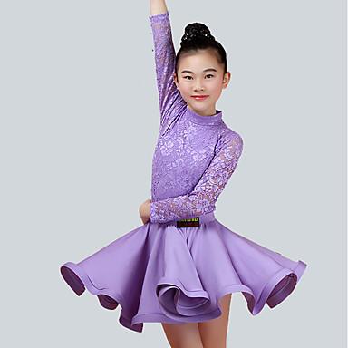 Dziecięca odzież do tańca Outfits Wydajność Nylon Koronka Długi rękaw Naturalny Spódnice Top
