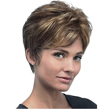 Synthetic Wig Straight Style Pixie Cut Capless Wig Brown Brown Synthetic Hair Women's Highlighted / Balayage Hair Brown Wig Short StrongBeauty Natural Wigs