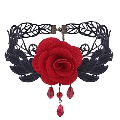 cheap Women's Jewelry-Women's Synthetic Amethyst Choker Necklace Flower Ladies Gothic Sweet Fashion Lace Cloth Alloy Black Red Necklace Jewelry One-piece Suit For Daily Cosplay Costumes