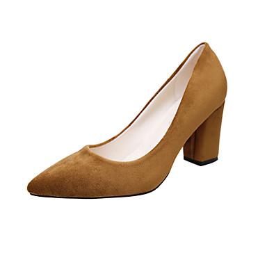 Mujer Zapatos PU Primavera / Verano / Otoño Confort Zuecos y pantuflas Tacón Bajo Dedo redondo Blanco / Negro BXjVh