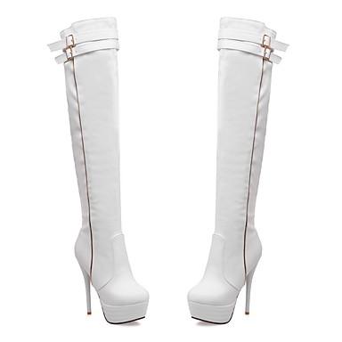 pour Polyuréthane la à Mode Chaussures Talon Aiguille Automne Bottes Bout Boucle Bottes Hiver Habillé Cuissarde rond Similicuir 06421622 Femme waqE0Yx