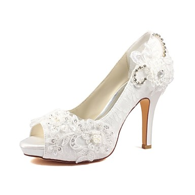 cheap Wedding Shoes-Women's Shoes Stretch Satin Spring / Summer Basic Pump Wedding Shoes Stiletto Heel Peep Toe Crystal / Pearl Ivory / Party & Evening