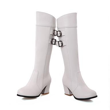 Bottes Chaussures Bottes Boucle Marron Rouge Talon à Automne Hiver rond Bottier Bout Polyuréthane Femme Bottes la Noir 06439761 Mode Adwqf88