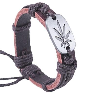 voordelige Herensieraden-Heren Dames Armband Bladvorm Klassiek Modieus Leder Armband sieraden Koffie / Regenboog Voor Afspraakje Straat