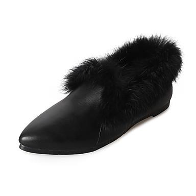 Mulheres Sapatos Couro Ecológico Primavera / Verão Conforto Sandálias Salto Robusto Dedo Apontado Branco / Preto
