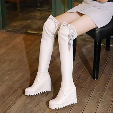 Women's Shoes Fleece / Customized Materials Spring Spring Spring / Fall Novelty Boots Wedge Heel Round Toe Thigh-high Boots White / Black / Wedding a8aed2