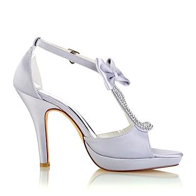 Satin Argent Noeud Escarpin Elastique Chaussures de mariage Chaussures Aiguille ouvert Talon Basique 06438390 Femme Boucle Cristal Bout Eté 5aRq1w