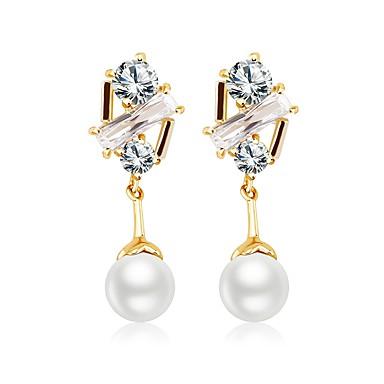 voordelige Oorbellen-Dames Diamant Kubieke Zirkonia Oorknopjes Druppel oorbellen Zirkonia Roos verguld oorbellen Dames Zoet Modieus Sieraden Goud Voor Lahja Dagelijks