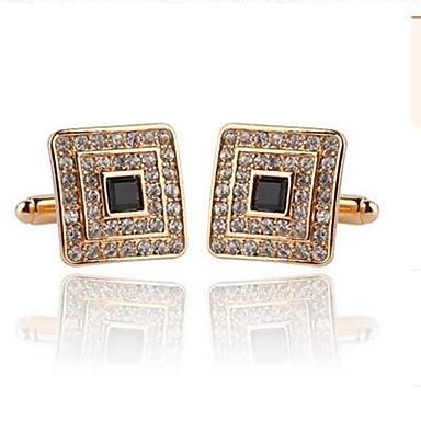 Kwadratowe wycięcie Silver Golden Manžetové knoflíčky Kryształ górski Stop Elegancka odzież Codzienny Formalny Męskie Biżuteria kostiumowa