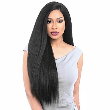 Syntetyczne koronkowe peruki Kinky Straight Włosy syntetyczne Peruka afroamerykańska Czarny Peruka Damskie Długo Peruka naturalna /