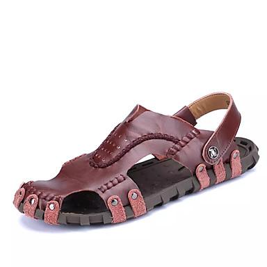 Pánské Obuv PU Léto Pohodlné Sandály pro Černá Tmavě červená Hnědá