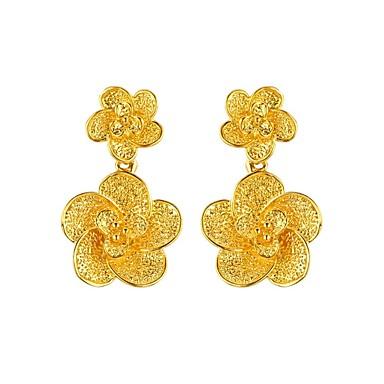 Damskie Kwiatowy Pozłacane Kolczyki wiszące - Kwiatowy Vintage Gold Kwiat Kolczyki Na Impreza Zaręczynowy