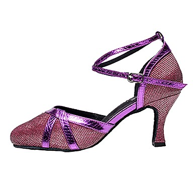 cheap Dancewear & Dance Shoes-Women's Modern Shoes Sparkling Glitter Sandal Customized Heel Customizable Dance Shoes Silver / Gray / Purple / Indoor