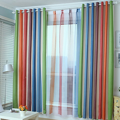 cheap Window Treatments-Grommet Top Double Pleat Pencil Pleat Curtain Modern Patchwork Living Room Polyester Blend Material Sheer Curtains Shades Home Decoration
