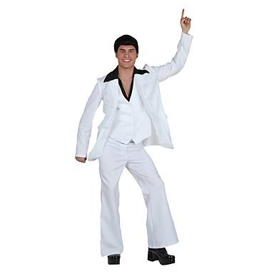 Elvis Lata 50. Kostium Męskie Kostium Stroje White Postarzane Cosplay Mieszanka len/bawełna Długi rękaw Lolita Majtki