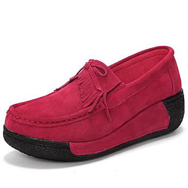 povoljno Ženske cipele-Žene Natikače i mokasinke Wedge Heel Okrugli Toe Koža Udobne cipele Proljeće / Jesen Crvena / Plava / Pink
