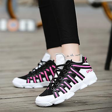 en Bout Plat fourrure Doublure Chaussures rond Bout en Dentelle 06438462 Noir Basket Polyuréthane Hiver Confort fermé Talon Femme Couture wzAXvqz