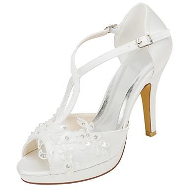 2018 Vente En Ligne Unisexe Mujer Zapatos Encaje Primavera / Otoño Pump Básico Zapatos de boda Punta abierta Rojo / Marfil / Boda / Fiesta y Noche Se Connecter Meilleur Pas Cher D0Nhg