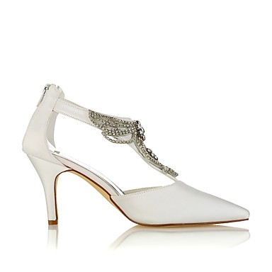 Femme de Talon 06438406 Printemps Chaussures mariage Aiguille pointu Satin Cristal Chaussures Escarpin Elastique Ivoire Eté Basique Bout rvSrq8Tw