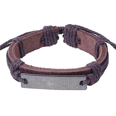 voordelige Herensieraden-Heren Lederen armbanden Armband Sideways Cross Kruis Rock Hip-hop Leder Armband sieraden Zwart / Koffie Voor Straat Uitgaan
