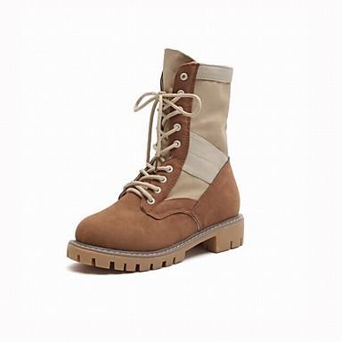 Combat boîtes mollet Randonnée Tissu de Bottes Marron Femme Talon Mi  Chaussures Beige Bottier 06450889 Cuir