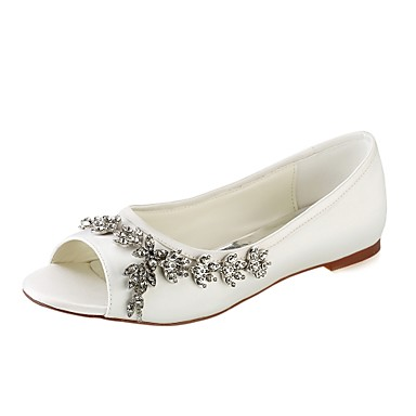Χαμηλού Κόστους Γυναικεία παπούτσια γάμου-Γυναικεία Παπούτσια Ελαστικό Σατέν Άνοιξη / Καλοκαίρι Βασική Γόβα Γαμήλια παπούτσια Επίπεδο Τακούνι Ανοικτή Μύτη Κρυσταλλάκια Λευκό /