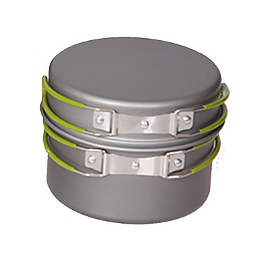cheap Camp Kitchen-Camping Pot Outdoor Cookware Multi layer Heat Insulated for 2 - 3 person Stainless Steel Metal Outdoor Camping Silver