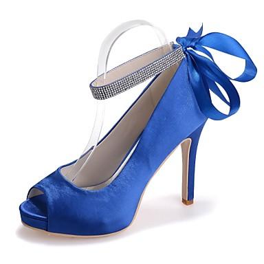 Rose Chaussures Eté ouvert Printemps Aiguille Ivoire 06421710 mariage de Chaussures Satin Talon Bout Ruban Escarpin Bleu Basique Femme qwZCYn