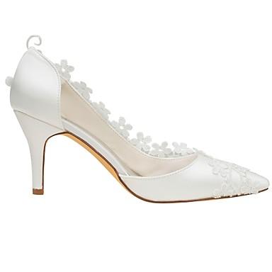 Ivoire Bout Chaussures Femme Aiguille Automne Printemps de mariage pointu Basique Chaussures Appliques Elastique Talon Satin Escarpin 06438314 nUw0g74UZq