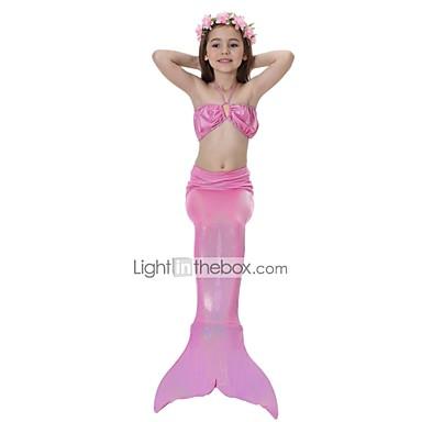 Lilla sjöjungfrun Kjolar Badkläder Barn Halloween Halloween Festival    högtid Polyster outfits Blå   Rosa Sjöjungfru f796f385dae85