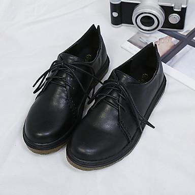 בגדי ריקוד נשים PU אביב / סתיו נוחות נעלי אוקספורד עקב נמוך בוהן סגורה שחור / חום