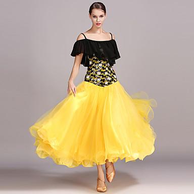 ボールルームダンス ドレス 女性用 性能 シフォン レース 人造絹 ラッフル 半袖 ハイウエスト ドレス