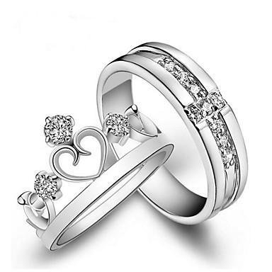 voordelige Herensieraden-Voor Stel Ringen voor stelletjes Princess Crown Ring Diamant Kubieke Zirkonia kleine diamant 2pcs Wit Koper Modieus Bruiloft Lahja Sieraden Kroon
