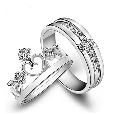 billige Motering-Par Parringer / Princess Crown Ring Diamant / Kubisk Zirkonium / liten diamant 2pcs Hvit Kobber Mote Bryllup / Gave / Maskerade Kostyme smykker