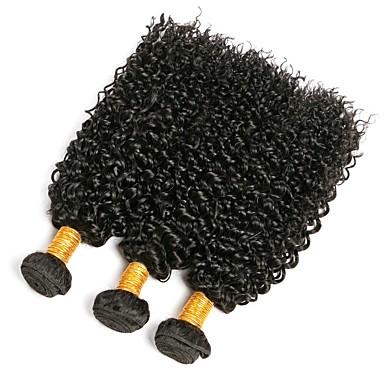 3 חבילות שיער ברזיאלי Kinky Curly שיער אנושי טווה שיער אדם 8-28 אִינְטשׁ שוזרת שיער אנושי תוספות שיער אדם בגדי ריקוד נשים / קינקי קרלי