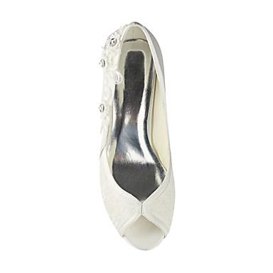 mariage ouvert Cristal Chaussures Satin Talon Ivoire Femme 06487306 Chaussures Elastique Basique Eté de Aiguille Bout Printemps Escarpin UCzqxg