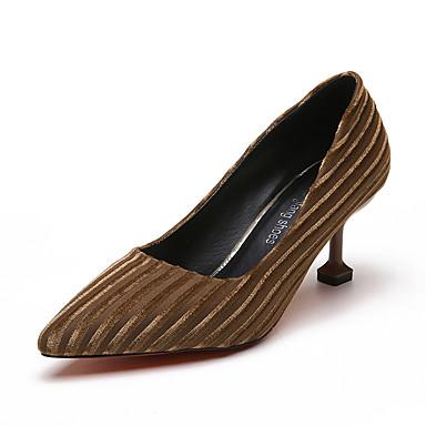 בגדי ריקוד נשים נעליים בד אביב נוחות עקבים עקב סטילטו בוהן עגולה שחור / אפור / חום