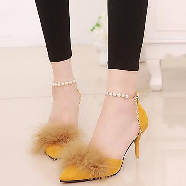 Primavera Cachemira Negro Zapatos 06500717 Tacón Verde Confort Pluma Dedo Mujer Puntiagudo Tacones Amarillo Stiletto 5FEWqqOw