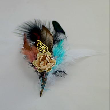 פרחי חתונה פרחי דש מצנפת סיכות נוי וסיכות ראש חתונה מסיבה ניצן של פרח נוצת אווז נוצות 6.69