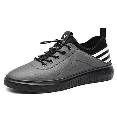 בגדי ריקוד גברים נעליים עור / PU אביב נוחות נעלי ספורט רכיבת אופניים / הליכה שחור / אפור / פסים