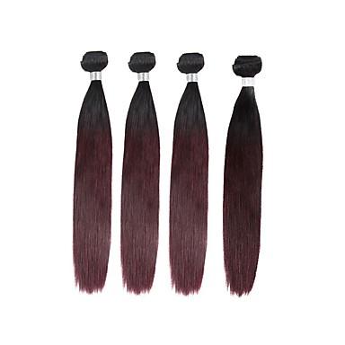 baratos Extensões de Cabelo Natural-4 pacotes Cabelo Brasileiro Liso 10A Cabelo Natural Remy Âmbar Tramas de cabelo humano Extensões de cabelo humano / Reto