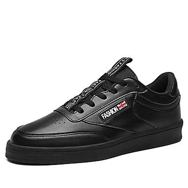 בגדי ריקוד גברים דמוי עור אביב נוחות נעלי ספורט לבן / שחור / אדום כהה